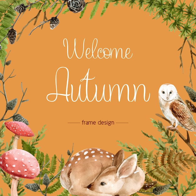 Autumn-themed border frame. Free Vector