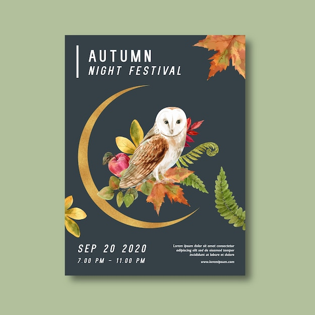 Autumn themed poster with plants Free Vector