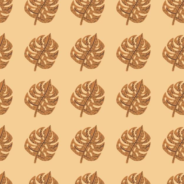 Осенние тона экзотической листвы бесшовные модели с коричневыми формами монстеры. светло-оранжевый фон. Premium векторы