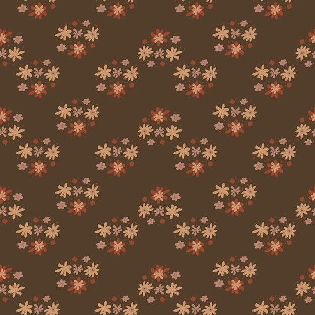 漫画の花飾りプリントと秋の色調のシームレスなパターン。茶色の背景。 Premiumベクター