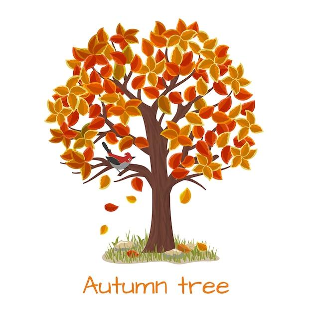 Albero d'autunno. albero della natura, stagione autunnale e pianta del ramo, illustrazione vettoriale Vettore gratuito