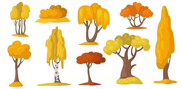Autumn trees and bush with yellow and orange foliage. Free Vector