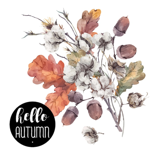 Autumn vector vintage cotton flower Premium Vector
