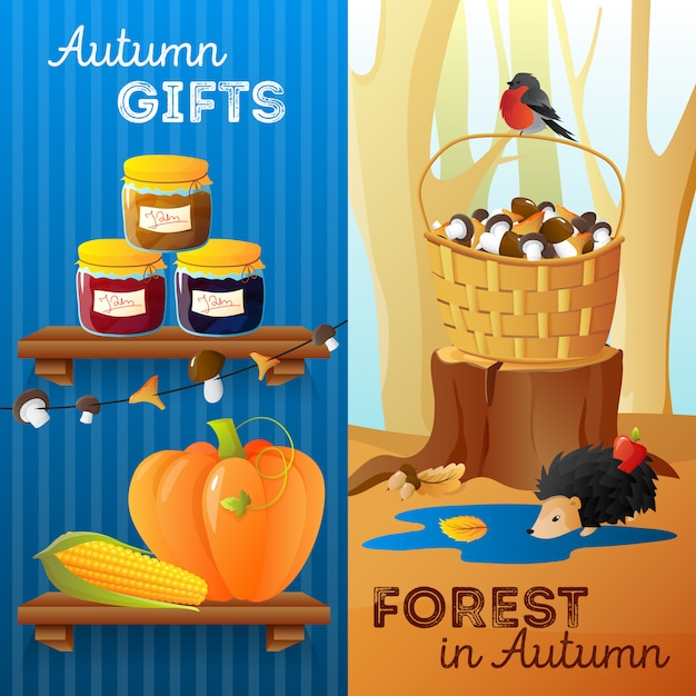 Autumn vertical banners Free Vector