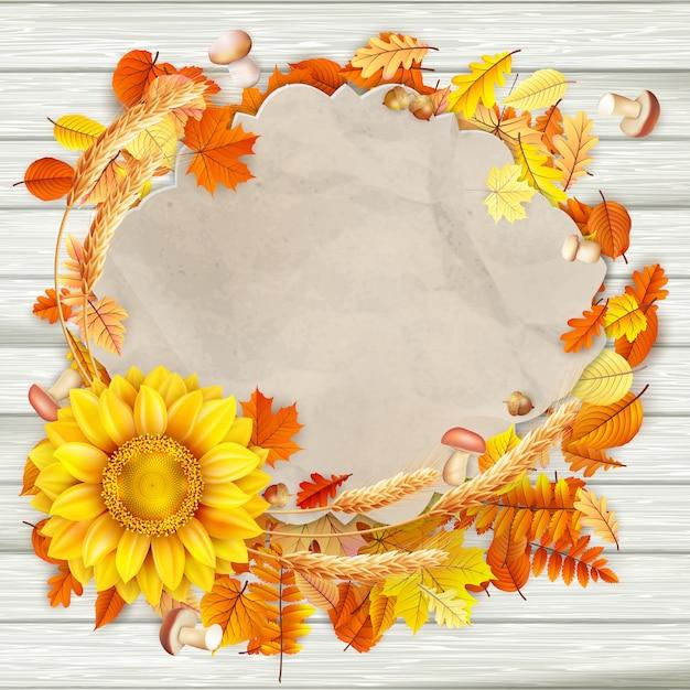 カラフルな秋のビンテージグリーティングカードの葉背景コピースペース。 Premiumベクター