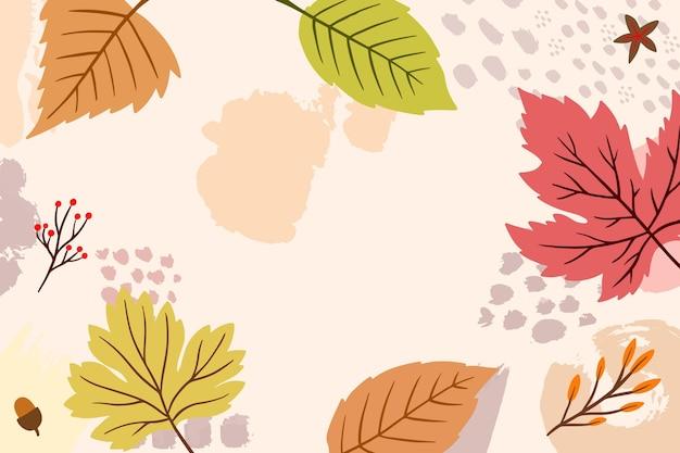 秋の壁紙テーマの描画 無料ベクター