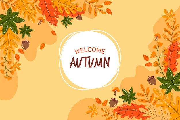 Autumn wallpaper with leaves Free Vector