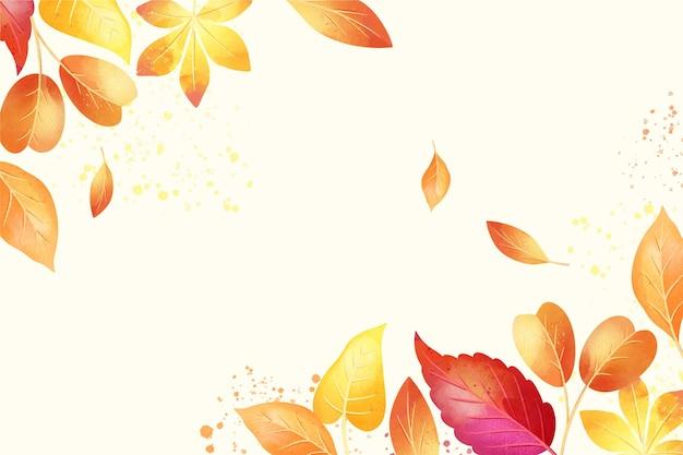 葉と秋の水彩画の背景 無料ベクター