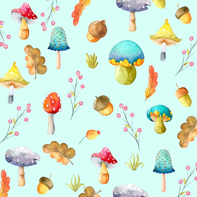 Autumn watercolor background with mushrooms and leaves Premium Vector