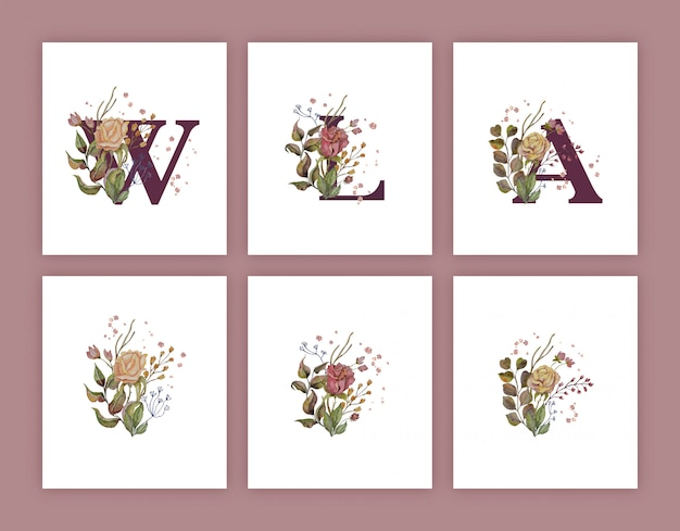 Autumn watercolor decoration for letters with gold Premium Vector