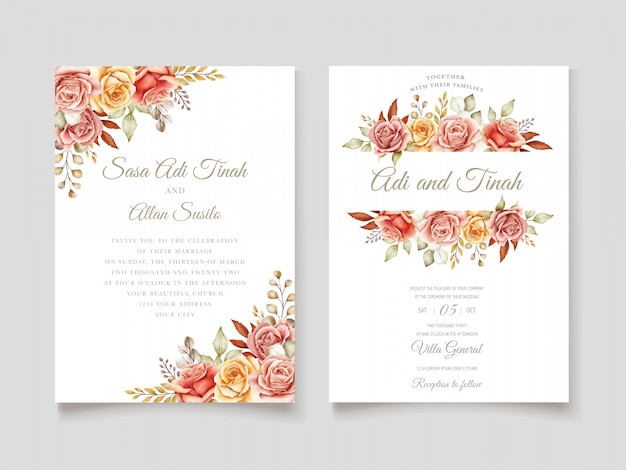 Autumn watercolor floral invitation card Free Vector