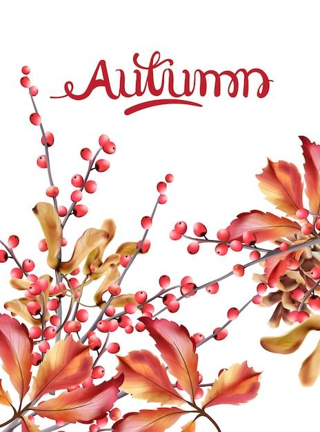 Autumn wild berries card watercolor Premium Vector