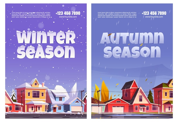 Autumn and winter seasons flyers. Free Vector