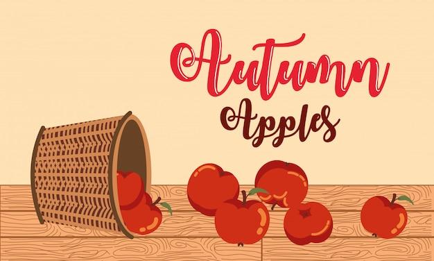 Autunno con l'illustrazione di vimini della merce nel carrello delle mele Vettore gratuito