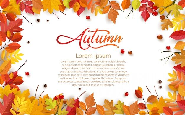 Autumn with beautiful leaves. Premium Vector