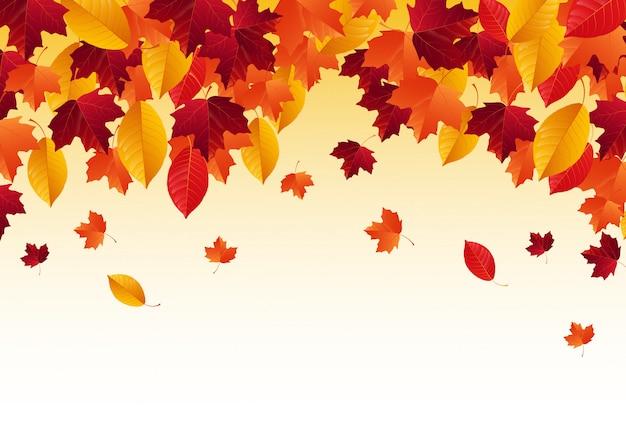 Autumn with falling autumn leaves Premium Vector