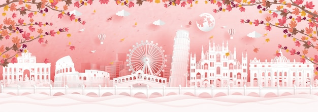 Autumn with falling maple leaves and landmarks of italy Premium Vector