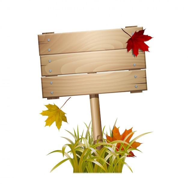 Осенний деревянный знак в увядшей траве с падающими красными и желтыми листьями. на белом фоне Premium векторы