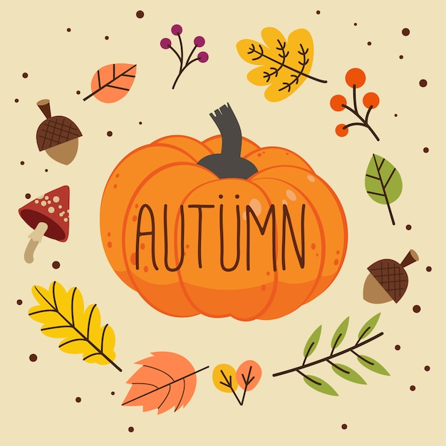 Autumn word on pumpkin with leaves Premium Vector