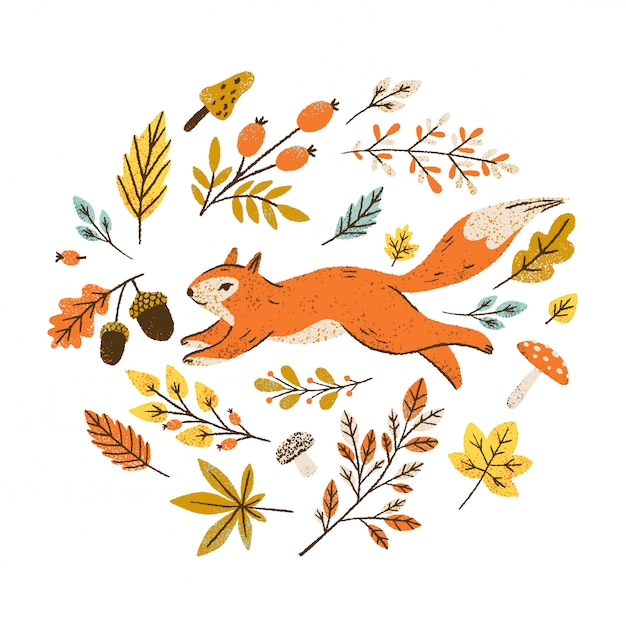 Autumn wreath with falling leaves, berries and mushrooms. round frame with squirrel. Premium Vector