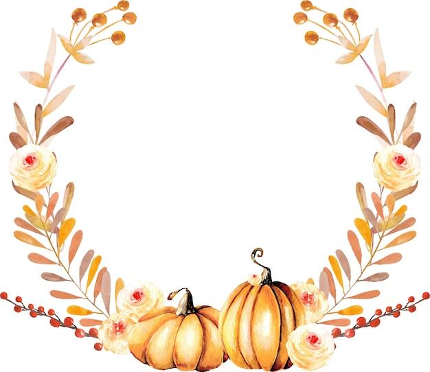 premium vector | autumn wreath with watercolor pumpkins and fall flowers  freepik