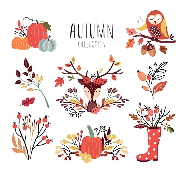Autumnal arrangements collection with seasonal bouquets and animals Premium Vector