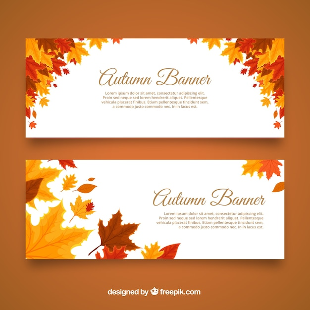 Autumnal banners with cool leaves Free Vector