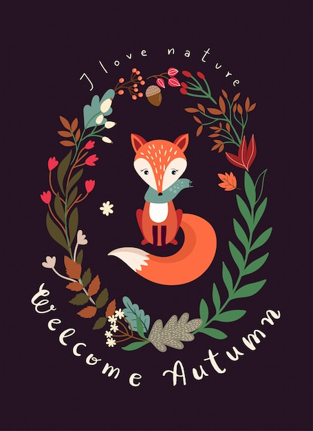 Autumnal card with seasonal wreath, fox and hand lettering Premium Vector