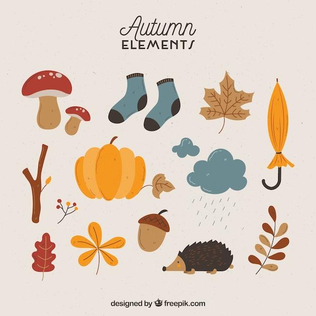 楽しいスタイルの秋の要素 無料ベクター