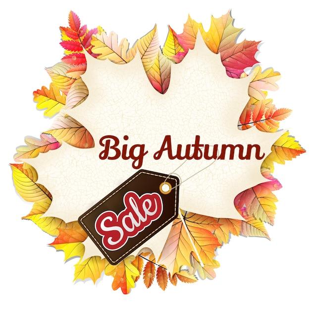 Осенняя рамка в виде опавшего листа большая распродажа. Premium векторы