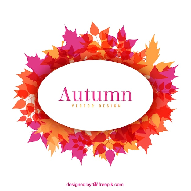 Autumnal frame with leaves Free Vector