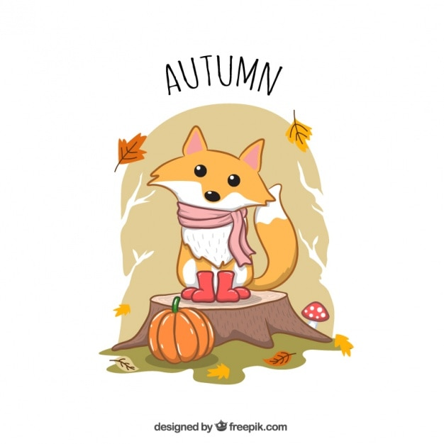 autumnal illustration of hand drawn lovely foxy with scarf