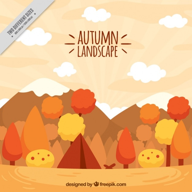 Autumnal landscape with a tent