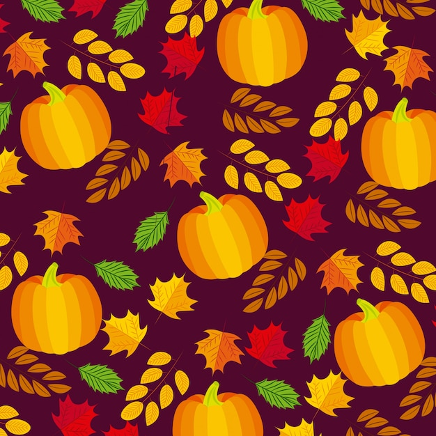 Autumnal leaves and pumpkins composition Free Vector