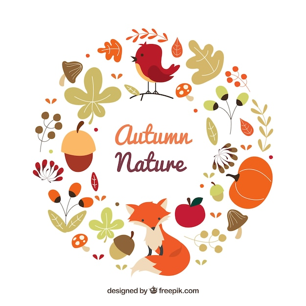 Autumnal nature wreath with animals Free Vector