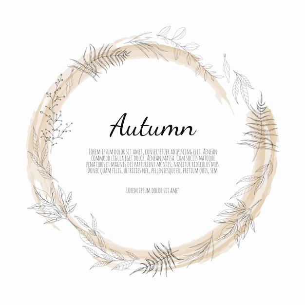Autumnal round frame. wreath of autumn leaves. Premium Vector