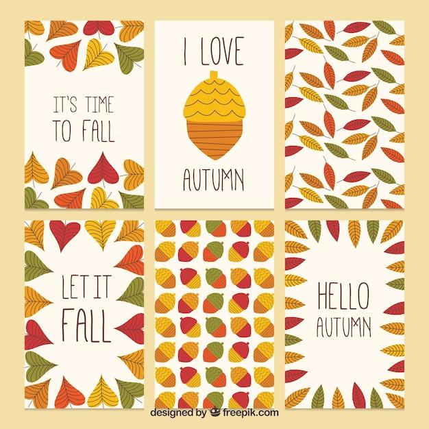 Autumnal season card collection