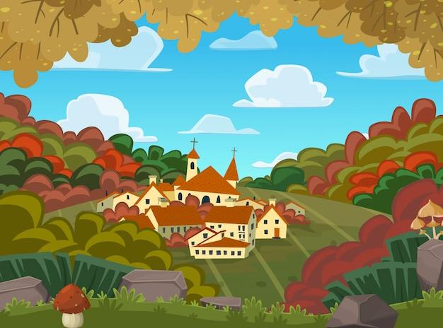 Autumnal vector landscape Premium Vector