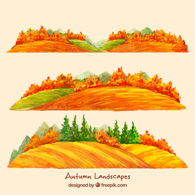 Autumnal watercolor landscapes with\ trees