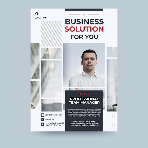 Avatar businessman business flyer template Free Vector
