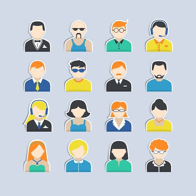 Avatar characters stickers set Free Vector