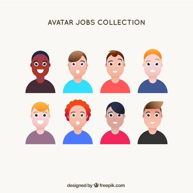Avatar collection with variety of smiley men