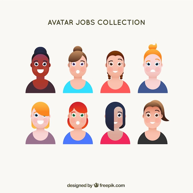 Avatar collection with variety of smiley women