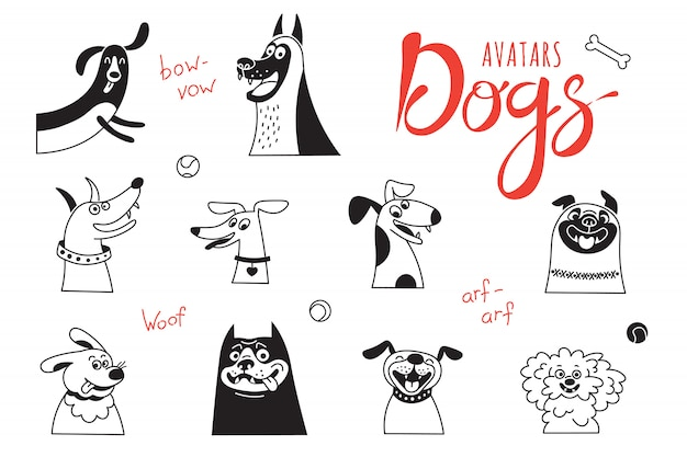 Avatar dogs. funny lap-dog, happy pug, cheerful mongrels and other breeds. Premium Vector