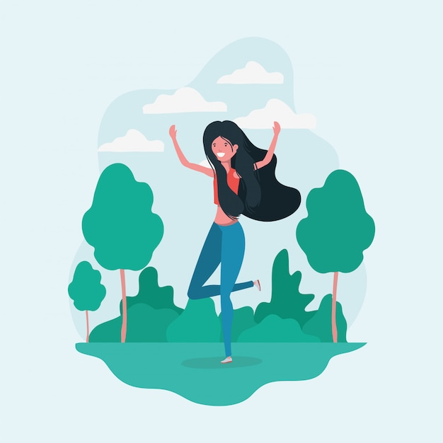 Avatar girl jumping in the park Free Vector