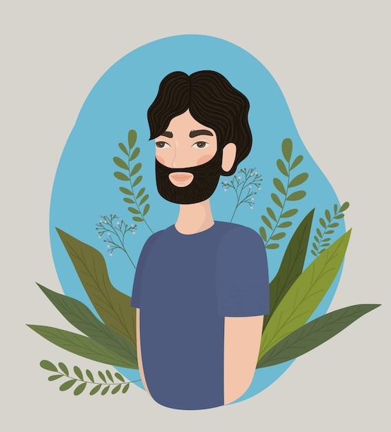 男のデザイン、少年男性人人人間のソーシャルメディアと肖像画のテーマベクトル図のアバター Premiumベクター