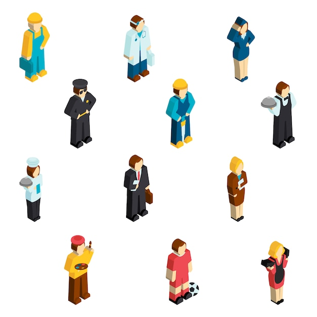 Avatar profession isometric characters Free Vector