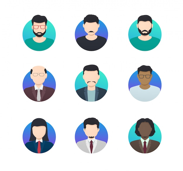 Avatar profiles minimalistic icons anonymous people of different nationalities. Premium Vector