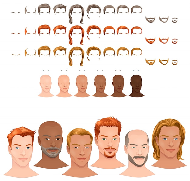 Avatar with different options Free Vector