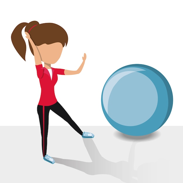 avatar woman working out with a fitness ball icon vector premium